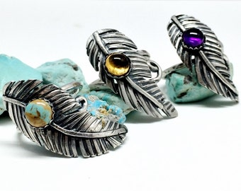 Feather Ring, Sterling Silver and Turquoise, Bohemian Jewelry
