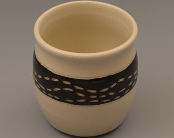 Graphic Black and White Sgraffito Dash Ceramic Tumbler