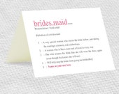 be my bridesmaid dictionary definition card - printable file - customisable personalised instant download diy template funny humour pink