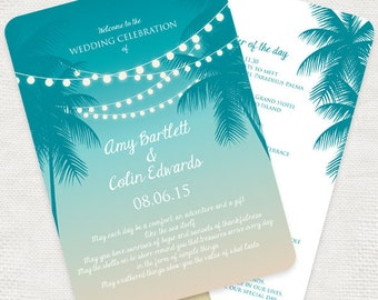 tropical nights wedding ceremony program fan - diy printable file - order of service beach summer island palm trees strings of lights sunset