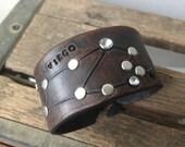 Leather zodiac cuff bracelet- virgo