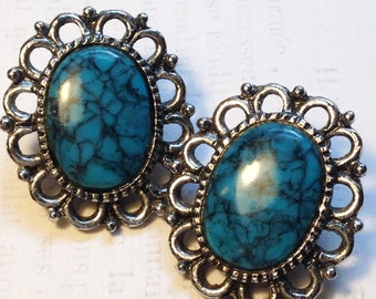 70's BOHO Native Style Faux Turquoise Earrings / Southwestern Style Oversized Faux Turquoise faux Silver Clip-Ons