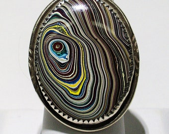 Extra Large, Detroit Agate (aka Fordite) set in a Vintage, Sterling Silver Ring - A Bold Statement Piece!! ~ mrfeld ~ FR108