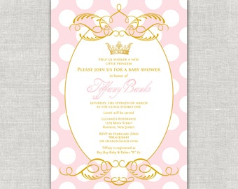 Gold Princess Baby Shower Invitation, Royal Baby Shower, Blush And Gold,  Pink And