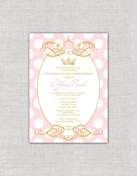 gold princess baby shower invitation royal by paperimpressions, Baby shower invitations
