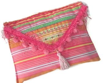 Envelope Clutch Pink Multi Color Stripe Bohemian Summer Clutch