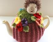 Hugh the Hedgehog in the Garden Tea Cosy in cashmerino wool - by Tafferty Designs - Size Medium