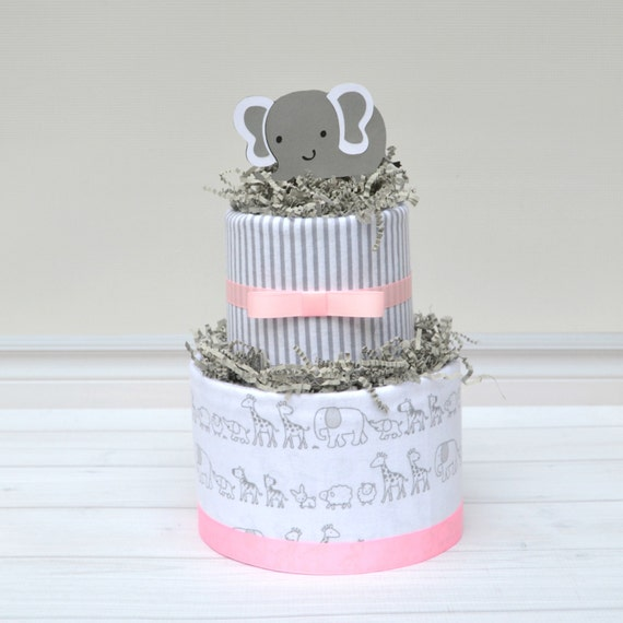 Pink and Gray Baby Shower, Elephant Baby Shower Centerpieces, Pink Elephant Baby Shower, Elephant Diaper Cake, Elephant Shower Decor