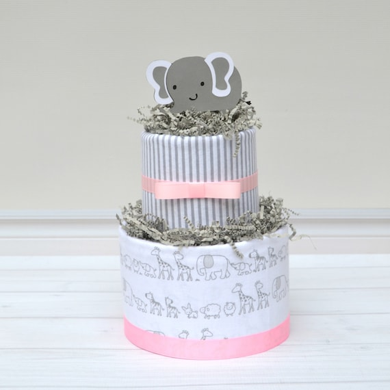 Elephant Baby Shower Centerpieces, Pink Elephant Baby Shower, Elephant Diaper Cake, Elephant Shower Decor, Pink and Gray Baby Shower