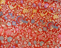 Vintage Fabric - Red Chinese Silk Brocade Floral Peacocks - By the Yard