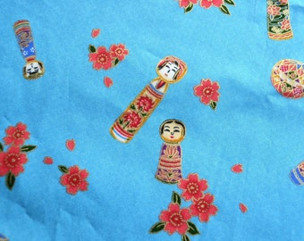 Vintage Fabric - Japanese Geisha Kokeshi Dolls on Turquoise - By the Yard