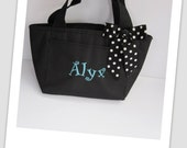 Monogrammed Black Insulated Lunch Bag Box Cooler Personalized Back to School 2016