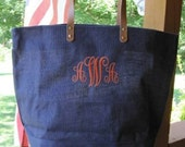 Personalized Navy Jute Tote Bag Bridesmaid Gift Monogrammed