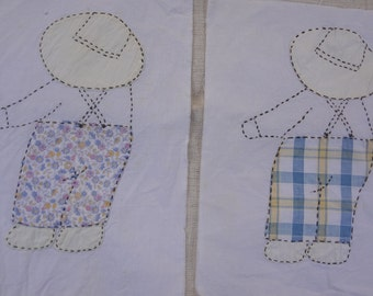 Pair Overall Bill Quilt Blocks / Vintage Applique Overall Sam
