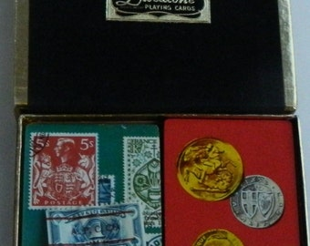 Vintage Duratone Playing Cards 2 Decks Coins Stamps Unopened Tax stamp