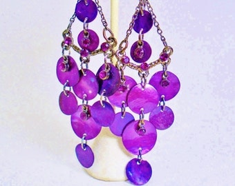 "Vintage Earring Multi Dangles Glass Rhinestones Purple Grape Art Deco Retro Mother Of Pearl Disks Big 80s Diva 4"" Dangles Runway Statement"