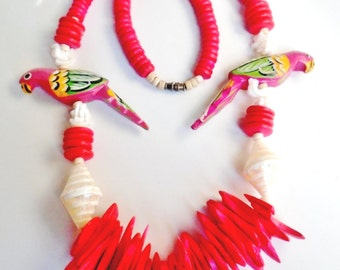 Vintage Parrot Necklace Hand Carved An Painted Bright RED Sliced Coconut Twin Wooden Parrots Tropical Ethnic Island  Bride Shell MOP 1960s
