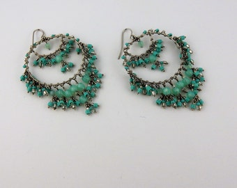 Vintage Boho turquoise beaded earrings