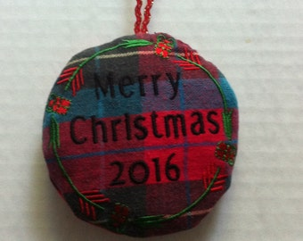 Memory Christmas Tree Ornament made from clothing of your loved one.