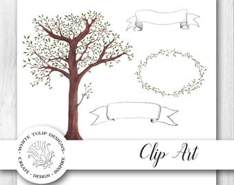 Watercolor Clipart - Woodlands - Trees, Banners, Leaves, Instant Download, Handpainted, Detailed Artwork