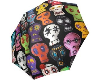 Sugar Skull Umbrella - photo-realistic embroidered sugar skulls - custom background -  foldable umbrella