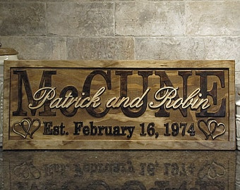 Personalized Wedding Gift Family Name Signs CARVED Custom Wooden Sign Last name Lovejoystore personalized sign couples marriage gift hearts