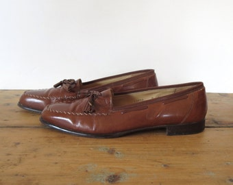 Vintage brown shoes Vintage Stanley Blacker shoes Men's size 9 1/2 D Made in Italy Dress shoes Oxford shoes Italian mens shoes Womans 11