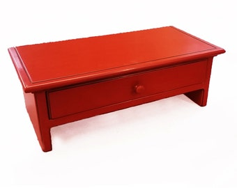 Small Red  Computer Monitor Stand and Desk Organizer with Drawer