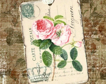 Tags, Roses, French Style, Gift Tags, Postcard, Crown