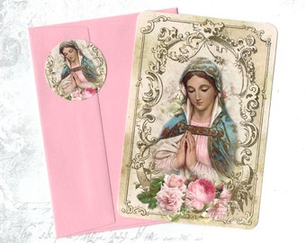 Note Cards, Religious Image, Vintage Image, Madonna, Note Card Set, Stickers
