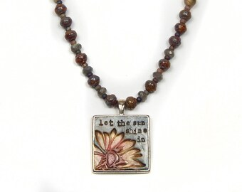 Art Bead Necklace, OOAK Necklace, Sunflower, Gemstone and Glass, Inspiration Pendant