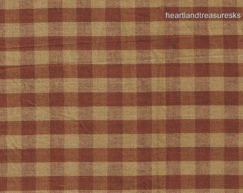 Dunroven House H-92 Homespun Brown Checked Fabric   1/2 Yard Cut Off The Bolt