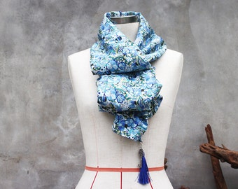 Quirky blue spring floral scarf with metal vintage-style key and nylon blue tassel charm