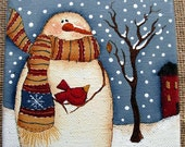 Snowman Winter on the Farm with Red Bird Painting |Snowman|Lodge Decor|Winter Scene