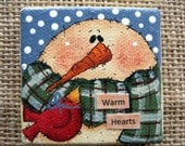 Snowman Warm Hearts Acrylic Painting with Red Bird|Mini Painting|Snowman|Holiday