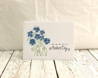 Mother's Day Card, Floral Mother's Day Card, Happy Mother's Day, Blue Floral Mother' Day Card, Mom, Mother, Mum,
