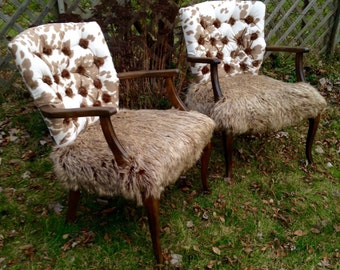 French Rustic Chairs Pair