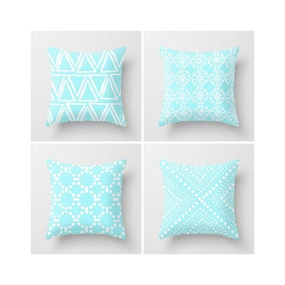 Bahama Blue Throw Pillow - Modern Throw Pillow - Aqua Cushion - Geometric Pillow - White Triangle - Turquoise Throw Pillow 16 18 20 24 inch