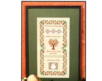 Blushing Peach Tree Leaves Pink Fruit Border Metal Charm Counted Cross Stitch Pulled Thread Embroidery Sampler Craft Pattern Leaflet