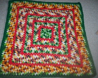 """Colorful Crocheted Afghan Lap Robe Baby Blanket 36"""" Square"""