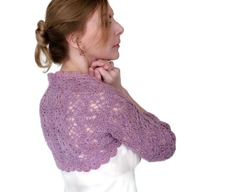 Lavender Wedding Shrug SALE Bridal Bolero Lace Jacket Lilac Purple Jasmine Hand Knit Peruvian Wool Size S