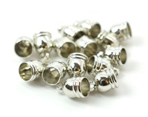 Bead Caps, Necklace Cord Ends, 50pcs,   Silver Bead  Cap, 5x6mm (fit 4-5mm cord), Silver Tassel Caps -F22