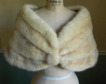 Mink Fur Stole /  Mink Shawl Wrap Caplet / 1950s / Mink Capelet