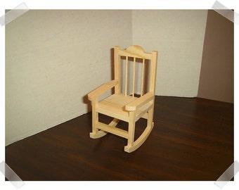 Unfinished Wooden Rocking Chair/Miniature/Craft Supplies*