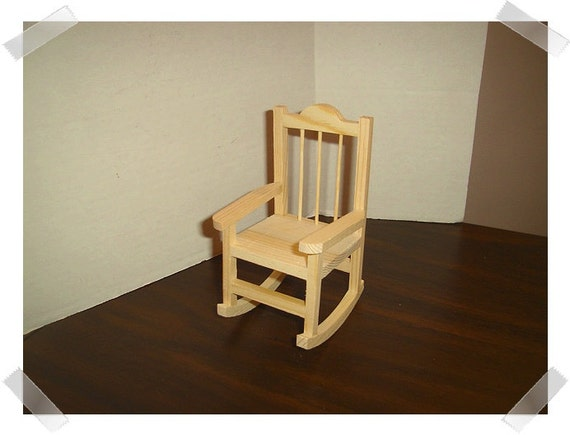 Unfinished Wooden Rocking Chair Miniature Craft Supplies