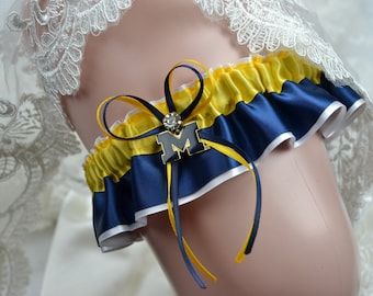 Wedding Garter Set U of M Wolverines Theme -Keepsake Wedding Garter- Keepsake Bridal Garter