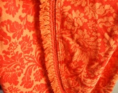 Vintage Round 1970s Tablecloth Orange Floral