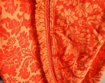 Vintage Round 1970s Tablecloth Orange Floral