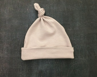 Top Knot Baby Hat - Pink and Grey Stripe