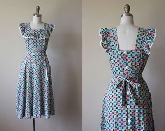 Vintage 1940s Dress - 40s Dress - Black Colorful Scribble Print Cotton Pinafore Dress M L - County Fair Sundress